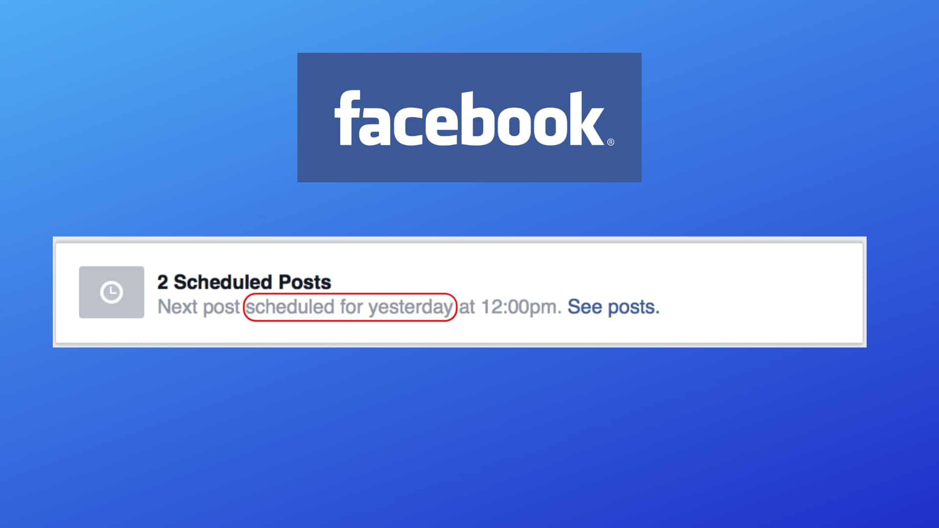 scheduled Facebook post didn't post